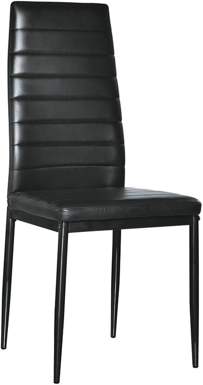 4pcs Elegant Assembled Stripping Texture High Backrest Dining Chairs Black