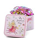1 Box (100 Stück) verschiedene Farben Cartoon süß elastisch Mädchen Baby Kind Haargummi Haarring mit einer Cartoon Blechbox für Mädchen Dame (Farbe zufällig)