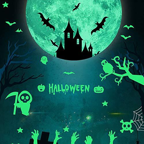 2 Satz / 6 Stücke Halloween Leuchttattoos Glow in Dark Wandaufkleber Set, Weird Moon Bats Leuchtgeist Dekorationen für Halloween