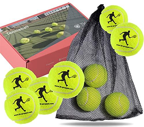 TK Gruppe Timo Klingler 12 Palline da Tennis per Competizione e Allenamento - Pallina da Tennis Gialla per Tutte Le superfici - Campo in Terra Battuta e Sala - con Rete da Tennis