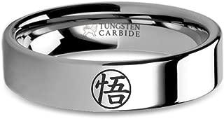 Dragon Ball Z Goku Go Kanji Symbol Engraved Tungsten Ring, Flat - 6 mm
