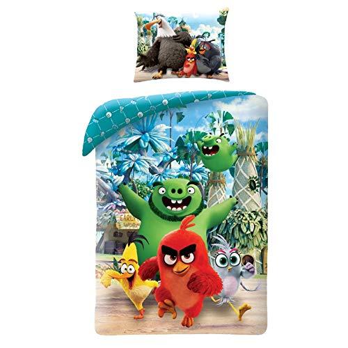 Halantex Angry Birds - Juego de cama de la isla Red Cerdo Barba - Funda nórdica de 140 x 200 cm y funda de almohada 100% algodón original