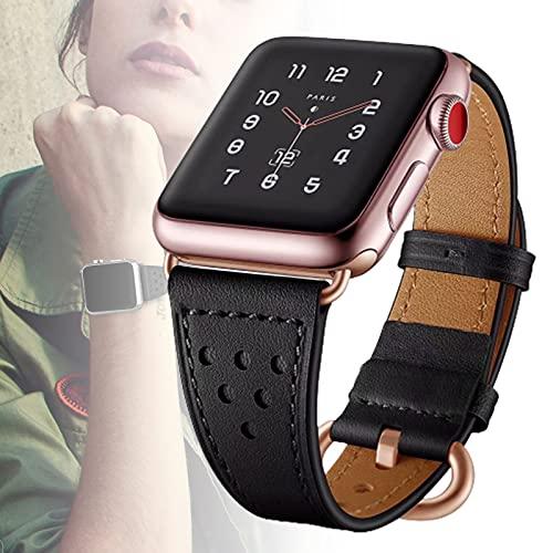 Correas De Cuero para Apple Watch Correa 40 Mm 44 Mm 38 Mm 42 Mm, Hombres Mujeres Reemplazo De Correa De Cuero Genuino para Iwatch Series 6 5 4 3 2 1 / SE,38mm