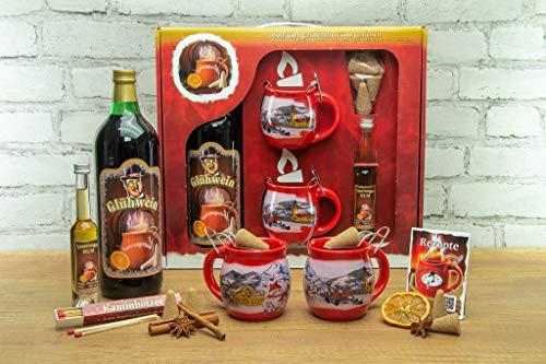 Feuerzangentasse Geschenkset, Klassisch, Rot/Winter - für Feuerzangenbowle
