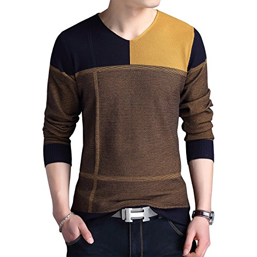 Womleys Mens Casual V Neck Flexible Knit Pullover Sweater Cotton Knitwear (Asian XXL (US Medium), Yellow)