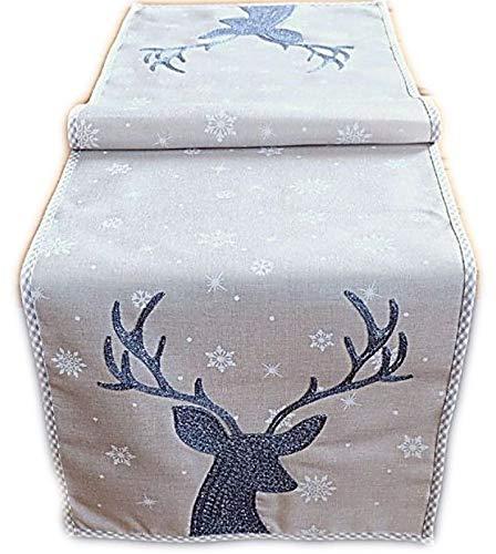Raebel Tischläufer 40x85 cm Stickerei Hirsch Weihnachten Weihnachtsdeko Weihnachtstischdecke Tischdeko Tischdecke
