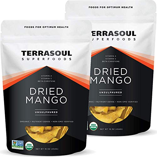 Terrasoul Superfoods Organic Dried Mango Slices, 2 Lbs (2 Pack) - Naturally Sweet & Tart | Healthy Prebiotic