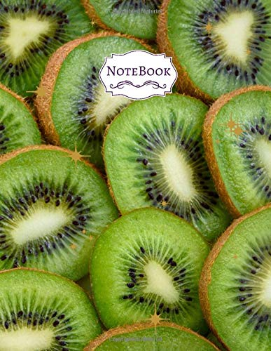 Lined notebook journal Sliced Kiwi Fruits cover, lined...