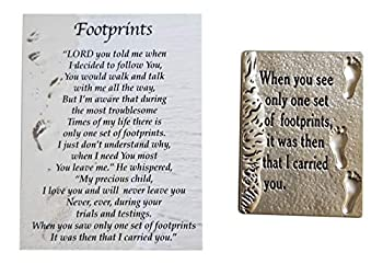 Ganz Footprints in The Sand Charm Pocket Token with Story Card ~ When You See Only Set of Footprints it was Then That I Carried You