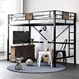 SHA CERLIN Metal Twin Size Loft Beds Frame with Stairs & Full-Length Guardrail,Space-Saving,Fit Kids and Adult ,Noise Free,Black