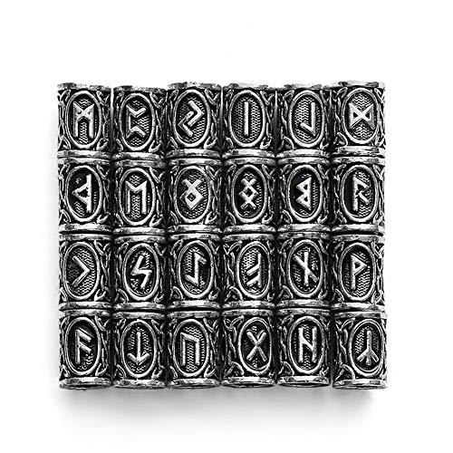 QZY 24 Piezas De Accesorios De La Barba Viking, 304 Perlas De Acero Inoxidable Runas para Los Hombres Collar Pulsera Colgante Joyas,Silver