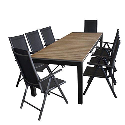 Multistore 2002 9tlg. Gartengarnitur - Gartentisch, ausziehbar, 205/275x100cm, Polywood-Tischplatte Braun 8X Hochlehner, 2x2 Textilengewebe, 7-Fach verstellbar