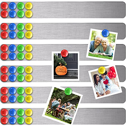 6 Pieces Frameless Magnetic Stainless Iron Board Strip Bulletin Bar Board Memo Strip Set with 48 Pieces Colorful Magnet for School Office (Silver)