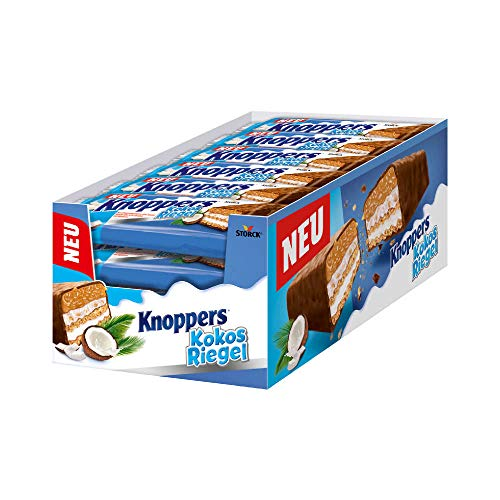 Knoppers KokosRiegel – 24 x 40g – Der erste KokosRiegel auf Knoppers Art – Mit knusprigen Waffeln, leckerer Milch- & Kokoscreme & feinen Kokosraspeln in Karamell umhüllt von Vollmilchschokolade