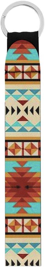 BIGCARJOB Watercolor Aztec Tribal Wristlet Keychain - Hand Wrist Lanyard - Durable and Premium Quality Wristlet Strap for Women Men