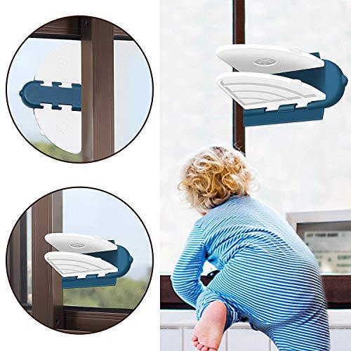 SYOSIN Schiebetür Sperre, Schrank Fenster kindersicherung, Fenstersicherung Schloss, Sicherung mit Klebepad fürs Kleinkind Haustier, Baby Sicherheit Sperren, Einfach zu Installieren (Door Lock)