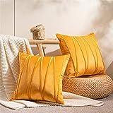 Top Finel Juegos 2 Hogar Cojín Terciopelo Suave Decorativa Almohadas Fundas de Color Sólido para Sala de Estar sofás 50x50cm Amarillo
