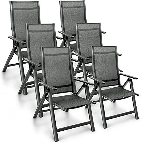 tillvex Gartenstuhl Premium 6er Set klappbar aus Aluminium   Hochlehner mit Armlehnen   Klappstuhl verstellbar   Klappsessel Balkon Garten Terrasse (Anthrazit)