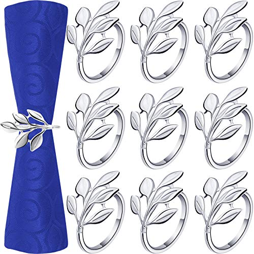 24 Pieces Napkin Rings Leaf Napkin Ring Holders Christmas Napkins Rings Bridal Vintage Napkin Band Adornment Dining Table Ring for Wedding, Holidays, Dinner Decor Favor (Silver)