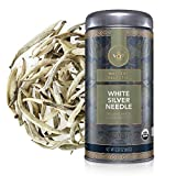 Teabloom Organic White Silver Needle Loose Leaf Tea, Rare USDA Organic White Tea With Delicate Honeysuckle Notes, 2.12 oz/60 g Canister Makes 35-50 Cups