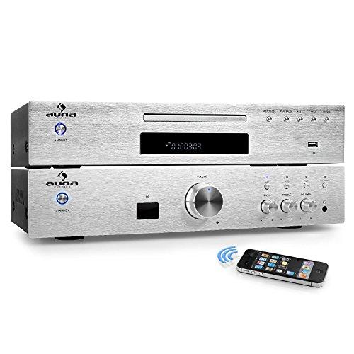 auna Elegance Tower Bluetooth HiFi-Set Verstärker + CD-Player mit Radioreceiver (Verstärker 600 Watt max, Bluetooth, AUX, MP3-CD-Player, USB, 40 Senderspeicherplätze, Edelstahl) Silber