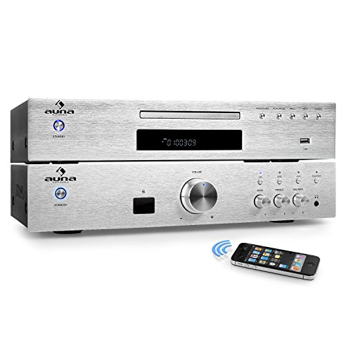 auna Elegance Tower Bluetooth Set Hi-Fi 2.0 (Amplificador estéreo 600W, Home Cinema,...