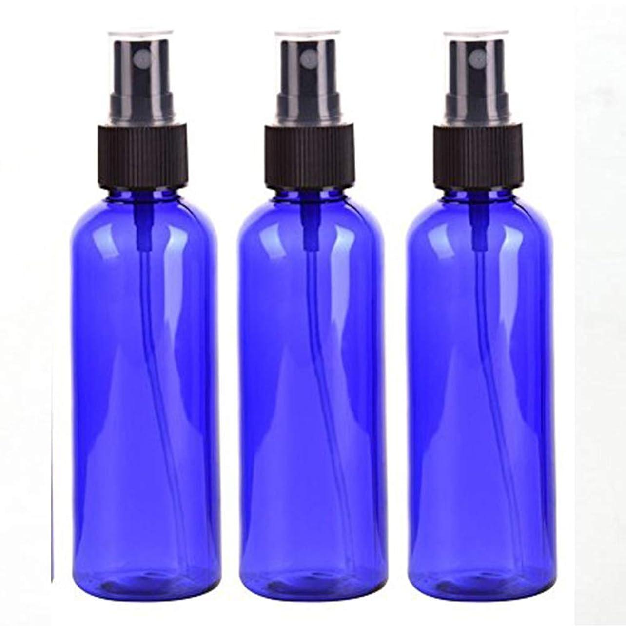 スプレーボトル 50mL ブルー黒ヘッド プラスチック空容器 3本セット