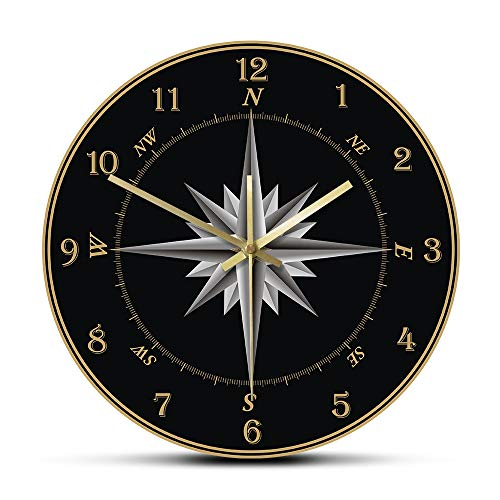 NIGU Día del miembro regalos para mujeres marinero brújula reloj de pared brújula rosa náutica decoración del hogar Windrose navegación ronda silenciosa reloj de pared regalo de marinero para hombres