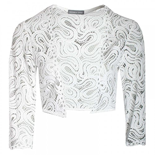Michaela Louisa Women's Delicate Lace Bolero 12 White