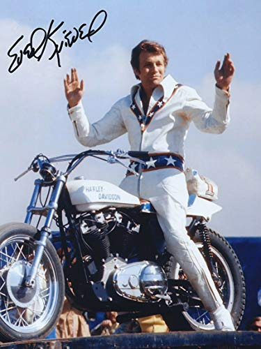 Vintage Evel Knievel Motorcycle Jump Publicity Photo Metal Sign Aluminum Metal Signs Tin Plaques Wall Poster for Garage Man Cave Beer Cafee Bar Pub Club Home Decor 8'x12'