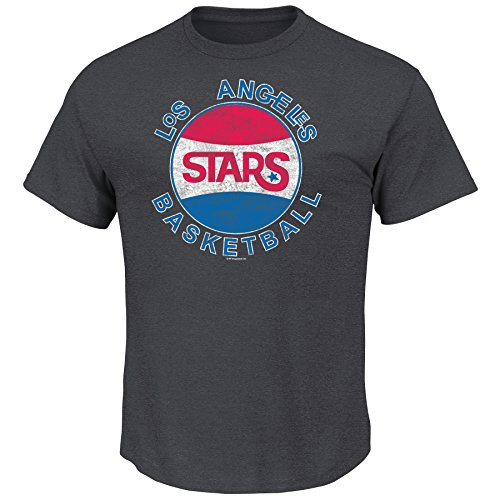 VF NBA Los Angeles Stars Men's Clippers Weathered Post Up Short Sleeve Basic Crew Neck T-Shirt, Charcoal Heather, Medium