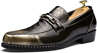 Shangruiqi Men's Fashion Oxford Casual Retro Polished Personality Stitched Metal Decoration Formal Shoes Abrasion Resistant (Color : Bronze, Size : 6.5 UK)