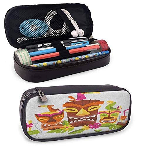 Big Capacity Pen Marker Holder Storage Luau Leather Pen & Pencil Case with Zipper Close, Palm Tree Leaves with Hibiscus Petals Traditional Icons of Exotic Beach Illustration Durable Station