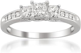 14k White Gold Princess-Cut 3-Stone Three-Stone Diamond Engagement Wedding Ring (1 cttw, I-J, I1-I2)