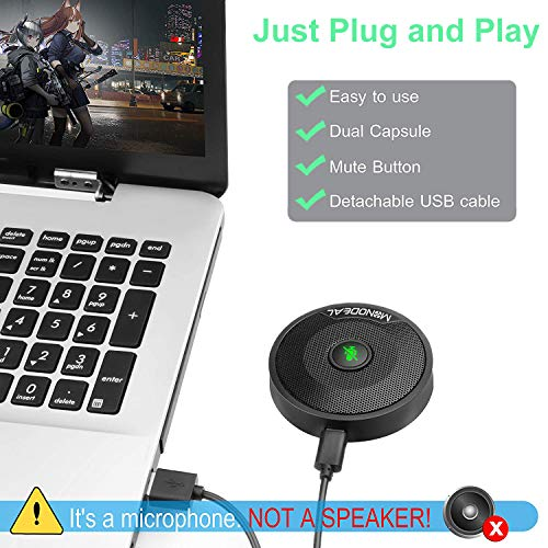 USB-Konferenzmikrofon, Mikrofon für PC, Video-Konferenz, Aufnahme, Skype, Online-Klassen, Spiele, Zoom, Plug & Play, kompatibel mit Mac OS X, Windows, PC