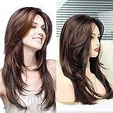 Peluca marrón para mujer, peluca ondulada de capas largas con flequillo disfraz de Cosplay sintético resistente al calor peluca de fiesta de Halloween con gorro de peluca
