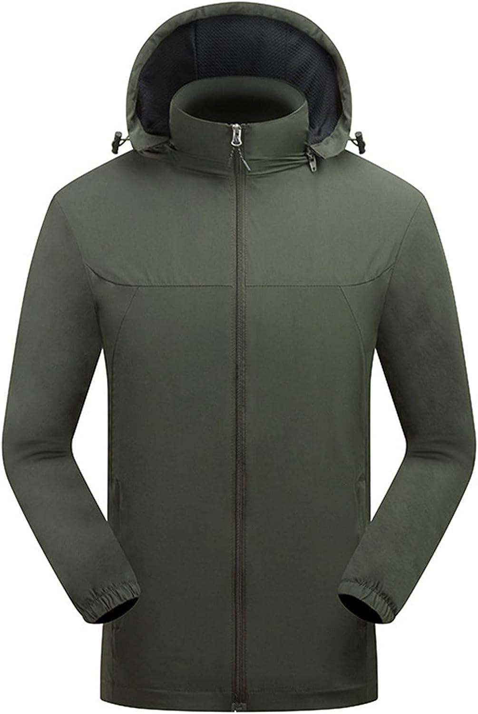 Detachable Hooded Waterproof Jacket for Men Midweight Full Zip Shell Windbreaker Men's Stand Collar Coat Big & Tall Outerwear