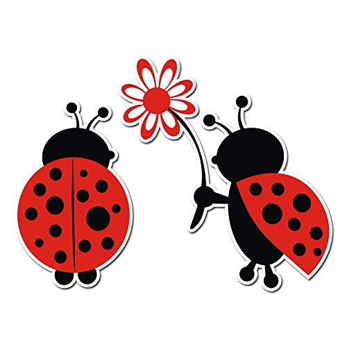 Cute Loving Ladybug Giving Flower Decal - Vinyl Decal for Indoor or Outdoor use, Cars, Laptops, Décor, Windows, and More (5in)