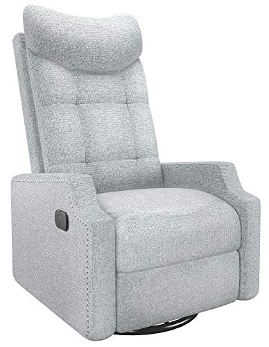 SMAGREHO Recliner Chair Massage Home Theater Seating, Modern Rocker with Heated 360° Swivel Single Sofa Seat Ergonomic Lounge with Side Pockets/Remote Control for Living Room, One package, French Grey