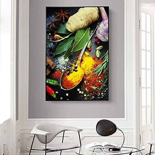 Lunderliny Granos Especias Cuchara Pimientos Pintura sobre Lienzo Carteles E Impresiones Cocina Habitación Pared Imágenes Artísticas para Decoración del Hogar 50x70cm