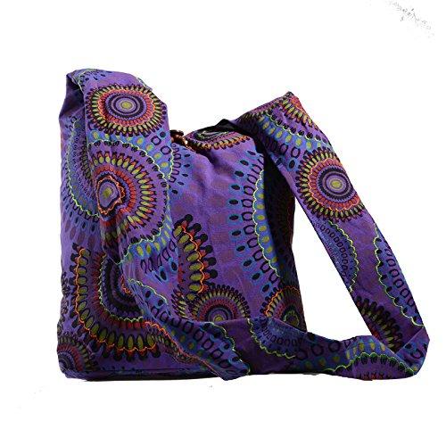 KUNST UND MAGIE Schultertasche Umhängetasche mit bunten Psy Mustern, Farbe:Lila