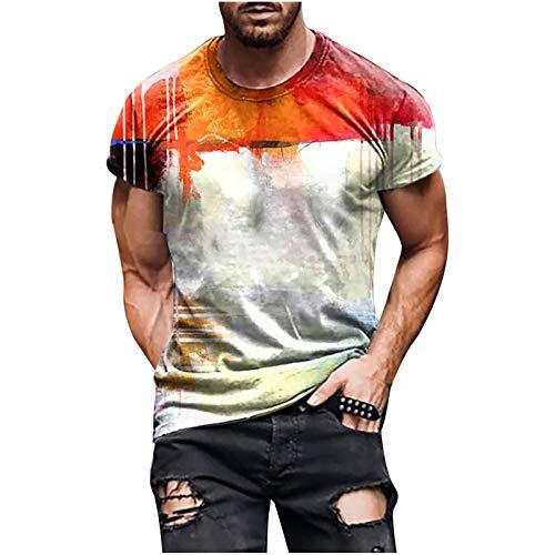 T-Shirt Herren 3D Drucken T Shirt Tie Dye Print Tshirt Vintage Männer Tee Oberteile Mode Herren Top Streetwear Shirt Kurzarm Bluse Mens T Shirts Kurzarmshirt Sports Shirt