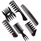 Eddwiin 6 unids/set estilo retro para hombres aceite de pelo peine de peluquería portátil ancho grande peine de peinado de dientes