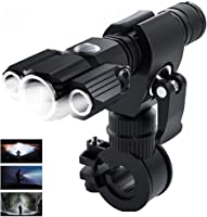 Gluckluz Flashlight LED Bright Tactical Flash Light with 3-Head Torch for Cycling Hiking Riding Camping Outdoor (USB...