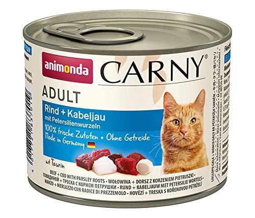 animonda Carny Adult Katzenfutter, Nassfutter für ausgewachsene Katzen, Rind + Kabeljau mit Petersilienwurzeln, 6 x 200 g