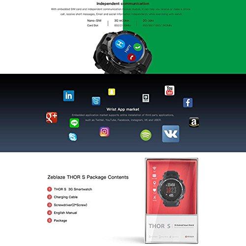 Zeblaze Nuevo Thor S 3G GPS SmartWatch 1.39 Pulgadas Android 5.1 MTK6580 1.0 GHz 1 GB + 16 GB Smart Watch BT 4.0 Dispositivos portátiles