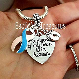 Pregnancy and Infant Loss Charm Bracelet Necklace Keychain. Awareness Ribbon Jewelry gifts