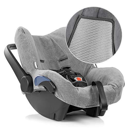 Zamboo Funda de Verano Maxicosi - Ajuste Perfecto Asiento Coche Grupo 0+ Maxi-Cosi Citi /Citi SPS, tejido de malla 3D transpirable, reduce la sudoración y protege la silla - Gris