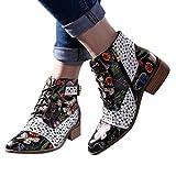 DNOQN Frauen Stiefel Leder Malen Blumenmuster Kuh Spleißen Schnüren Stitching Ankle Boots Schwarz 39