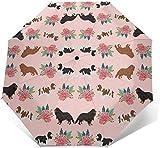 EW-OL Parapluie de réserve Pliable Coupe-Vent Protection UV Cavalier King Charles Spaniel Pink Florals Floral Dog